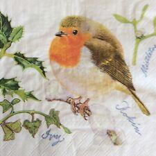 paper napkins decoupage x 2 Christmas robin 33cm