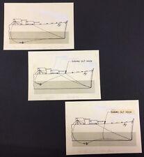 "WARSHIP Paravane Line (3) original 5-1/2"" x 8"" illustrations for publication(?)"
