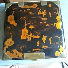 China antique painting gold ladscape and people on wood + lacquer box