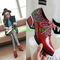 Womens pointy toe heels Patent Leather oxfords lace up Sequins causal shoes New