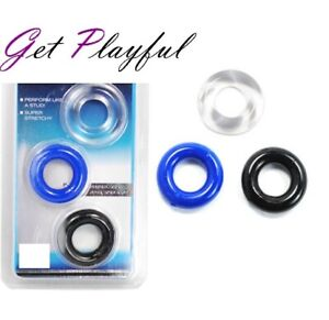 3 x Silicone Cock Ring Get Hard Penis Ring Enlarger Last Longer Sex toy