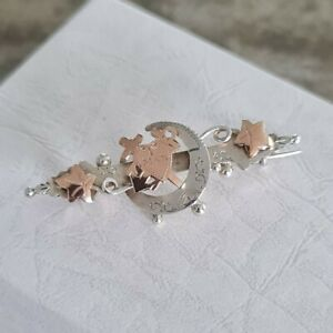 Sterling Silver Rose Gold Sweetheart Brooch Crescent Moon Faith Hope Love 1901