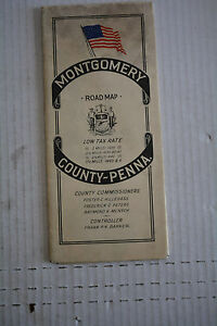 SCARCE 1945 MONTGOMERY COUNTY PENNSYLVANIA  ROAD MAP AND table of distances