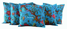 "CUSHION COVER DECOR ART INDIAN NEW HANDMADE ETHNIC 16X16"" KANTHA WORKSET OF 5"