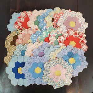 "Vintage  Grandmothers Flower Garden Cotton Patchwork Unfinished Quilt Blocks 8"""