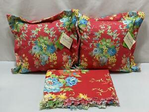 April Cornell Pillows Tablecloth Throw Cottage Rose Red 3 Pc Floral Clima1226