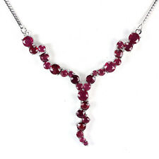 Sterling Silver 925 Genuine Natural Deep Pink Ruby Necklace 18 Inch
