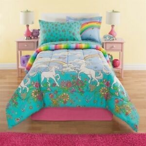 Twin Full Bed Bag Unicorn Floral Rainbow Reversible 8 pc Comforter Sheet Set