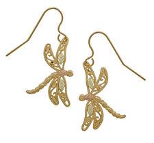 10k Black Hills Gold Dragonfly Earrings