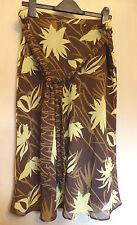 H&M UK14 EU40 US10 brown and yellow chiffon belted skirt