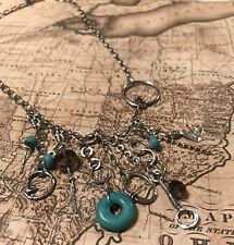 Silpada N1985 NEW Sterling Silver Turquoise Howlite Smoky Quartz Charm Necklace