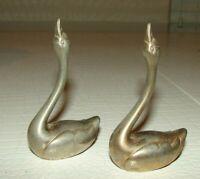 Vintage Pair of Solid Brass Geese Swan Mid Century Brass Figurines