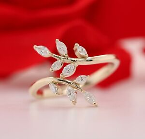 Natural Marquise White Diamond 14K Yellow Gold Engagement ring