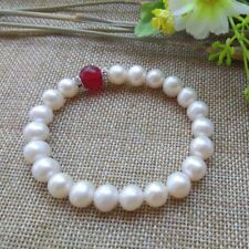 & Red Jade Elastic Bracelet 7.5'' Fashion Women's 7-8mm Natural White Pearl