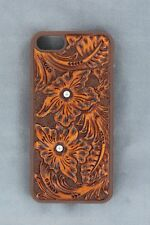 iPhone 4 4S Cover~Brn Crystals TOOLED LEATHER~Protective Hardback Western Cowboy