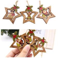 2020 Christmas Star Printed Wooden Pendants Ornaments Xmas Tree Ornament Deco