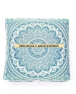 "35"" Third Eye Indian Mandala Geometric Square Floor Pillow Cover Case Green Blue"