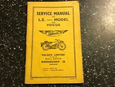 1968 VELOCETTE LE Mark III 3 Mk3 MKIII & VOGUE OWNERS SERVICE INSTRUCTION MANUAL