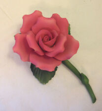 FABAR CAPODIMONTE RED DARK PINK ROSE FULL BLOOM  FLOWER BLOSSOM HAND MADE ITALY