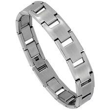 Stainless Steel Matte Center Rectangular Bar Link Bracelet