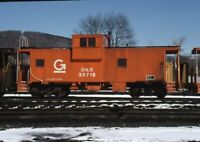 D&H DELAWARE & HUDSON Railroad Caboose Train BINGHAMTON NY Original Photo Slide