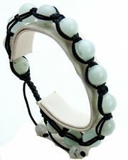 SEMIPRECIOUS WHITE JASPER STONE SMOOTH BALL BEADED BLACK CORD SHAMBALLA BRACELET