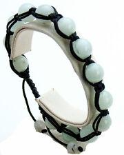SEMIPRECIOUS WHITE JASPER STONE SMOOTH BALL BEADED BLACK CORD SHAMBALLA BRACELET