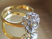 Vintage Gold plated and silver plated crystal ring