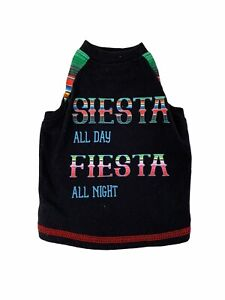 Top Paw Colorful Dog Shirt T-Shirt SIESTA  ALL DAY FIESTA  ALL NIGHT Size S NEW