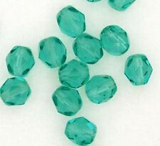 Czech Glass Beads Fire Polished Aquamarine  6mm x 25