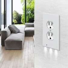 Duplex Wall Plate Outlet Cover, with LED Night Light, Ambient Light Sensor, Hot