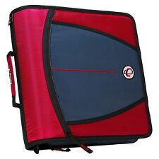 New Case-it XL 3 Ring 3 INCH Zipper Binder with 5-Tab File Folder, RED