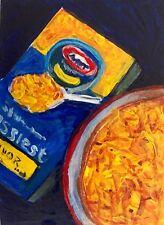 ACEO Cheesiest Macaroni Mac & Cheese Food Art Original Painting Penny StewArt