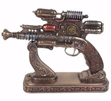 "Steampunk Gauss Coil Pistol Gun with Decorative Stand Bronze Figurine 10.5""L New"