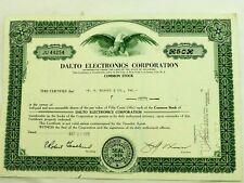 Dalto Electronics Corporation Green Stock Certificate 1969
