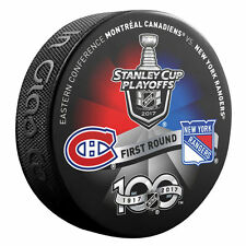 MONTREAL CANADIENS vs NEW YORK RANGERS 2017 Playoffs NHL 100th DUELING LOGO PUCK