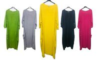 LADIES ITALIAN QUIRKY LAGENLOOK PLAIN LINEN CASUAL MAXI DRESS PLUS SIZE UP TO 26