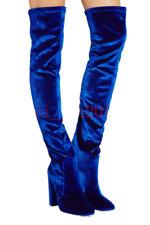 Women's Velvet Over Knee High Booties Slim Pull On Block Heels Pointed Toe Shoes