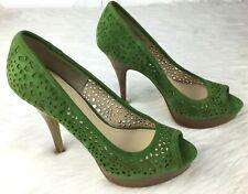"Enzo Angiolini Womens Pump Shoes High Heels Sz 6M Green Leather Upper 4"""
