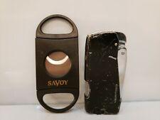 Vertigo Working Butane Lighter, Black, Twin Torch Flame, Cigar Cutter