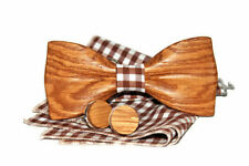 Wood Tuxed Fashion Wooden Men's Bowtie Novelty Carved Bow Tie Wedding Necktie