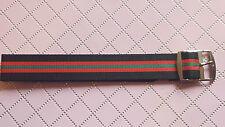 BRACELET MONTRE TERGAL PERLON STYLE NATO RAYURE 18mm BOUCLE ARGENTÉ ref.RS22