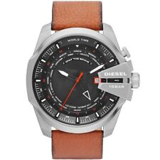 Diesel Uhr DZ4321 Herrenuhr XL Mega Chief Braun Leder World Time Watch NEU & OVP
