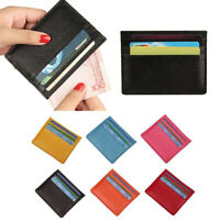 Men Women Genuine Leather Small ID Credit Card Wallet Holder Slim Pocket Case U