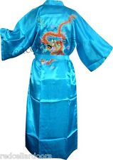 New Mens or Womens Light Sky Blue Satin Bathrobe Embroidered Dragon Housecoat