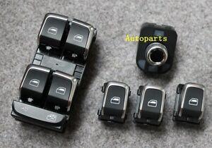 5pcs Chrome Master Window Mirror Switch For Audi A4 S4 B8 Q5 A5