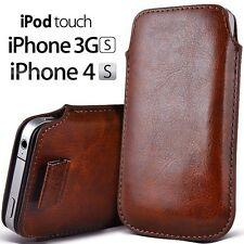 FUNDA DE PIEL MARRON iPHONE 4 4S 3G 3GS 2G iPOD.