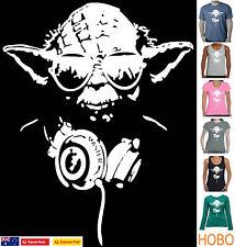 Funny T-shirts T-Shirt YODA Headphones Star wars Singlets Men's Ladies Sizes tee