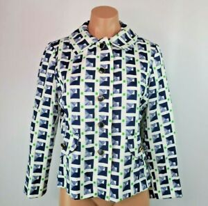 VTG 80s Margot Blazer Sz 12 Geometric Print New Wave Lined USA MADE Jacket