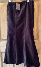 NWT Boden Fit and Flare Velour Midi Skirt Dark Chocolate Brown Panels 8